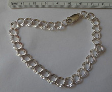 """6"""" or 6.5"""" Child sizes, 7 mm Diamond Cut Double Link Sterling Silver Charm Bracelet"""