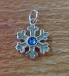 14mm Blue Enamel Snowflake Christmas Sterling Silver Charm