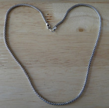 """sizes 18"""", or 20"""" Thailand 3 mm Popcorn Chain Hook Eye Clasp Sterling Silver"""