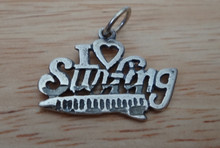 22x15mm says I Love Surfing with Surfboard Sterling Silver Charm
