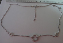"""Adjustable 16-18"""" Clear CZ 3 Circles Sterling Silver Charm & Chain"""
