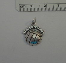 1/2 Volleyball & says Volleyball Sterling Silver Charm