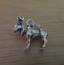 3D 15x13mm Realistic Moose Sterling Silver Charm