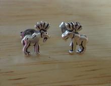 7x10mm Small Moose Sterling Silver Stud Earrings