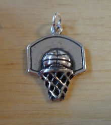 3D 15x20mm Basketball w/ Backboard and Hoop Sterling Silver Charm
