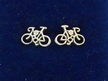 Tiny 7x11mm Bicycle Bike Stud Sterling Silver Earrings