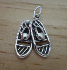 3D 15x22mm Snowshoes Sterling Silver Charm