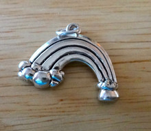 23x18mm Cloud with Rainbow & Pot of Gold Sterling Silver Charm