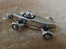 3D 3.5 gram Soap Box Derby Style Car Sterling Silver Charm