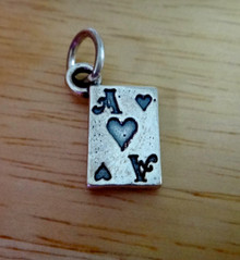 10x14mm Playing Card Ace of Hearts Sterling Silver Charm