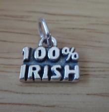 13x12mm Says 100% Irish Ireland Sterling Silver Charm