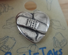 16x16mm Bandaid on Broken Heart Sterling Silver Tie Tack or Pin