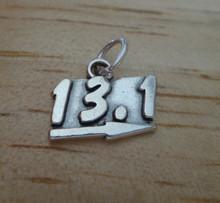 says 13.1 Half Marathon Running Sterling Silver Charm