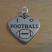 18x18mm says Football on Double Sided Heart Sterling Silver Charm
