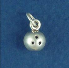 10x7mm Bowling Ball Sterling Silver Charm