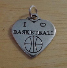 18x18mm double sided I Love Basketball Heart Sterling Silver Charm