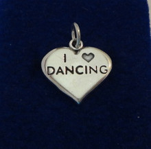 says I Love (Heart) Dancing Heart Sterling Silver Charm