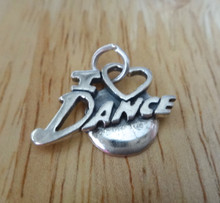 22x17mm says I Love (Heart) Dance Sterling Silver Charm