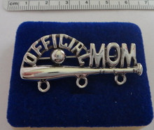 1.75x.75 inch Baseball Softball says Official Mom 3 hole Sterling Silver Charm Pin