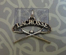 17x20mm Lacrosse Sticks says Lacrosse Sterling Silver Charm
