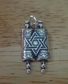 10x20mmJewish Torah Scroll Star of David Sterling Silver Charm
