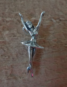 11x26mm Ballerina Arms Up Ballet Dance Sterling Silver Charm