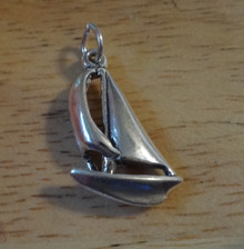 3D 14x22mm Sail Boat Sailboat Sterling Silver Charm
