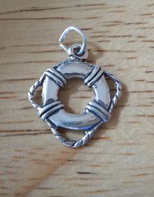17mm Life Preserver with Rope Pool Boat Sterling Silver Charm