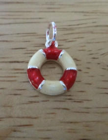 14mm Red & Off-White Enamel Life Preserver Sterling Silver Charm