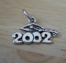 6x26mm 2002 with Graduation Cap Year Sterling Silver Charm