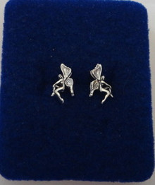 Tiny 8x10mm Tinkerbell type Fairy Sterling Silver Stud Earrings