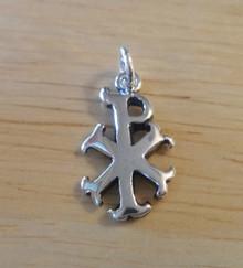 18x11mm Chi Rho Christian Symbol Cross Sterling Silver Charm