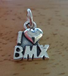 11x13mm I Love (Heart) BMX Bike Bicycle Sterling Silver Charm
