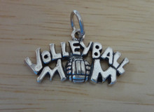 25x14mm Volleyball Mom Sterling Silver Charm