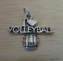 22x20mm I Love Volleyball Sterling Silver Charm