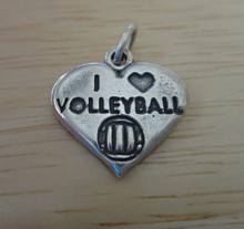 18x18mm says I Love Volleyball Heart Shaped Sterling Silver Charm