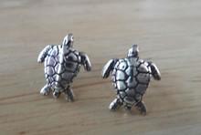 12x10mm Sea Turtle Tortoise Studs Sterling Silver Earrings