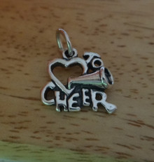 Love Heart to Cheer w/ Megaphone Sterling Silver Charm