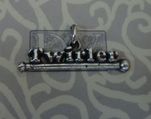 25x7mm says Twirler on a Baton Sterling Silver Charm