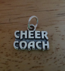 15x12mm says Cheer Coach Cheerleading Sterling Silver Charm