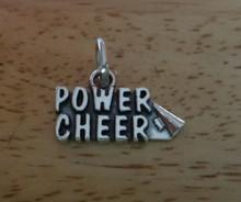 says Power Cheer Megaphone Cheerleader Sterling Silver Charm