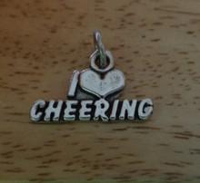 I Love Cheering heart Cheerleader Sterling Silver Charm
