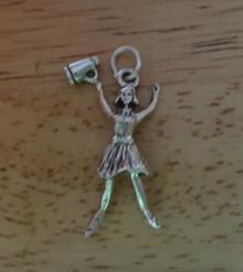 Cheerleader Girl w/ Megaphone Sterling Silver Charm