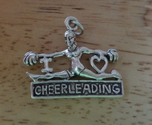 Large Heavy I Love Cheerleading Cheerleader Sterling Silver Charm