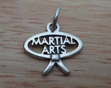 17x15mm Martial Arts with belt surrounding it Sterling Silver Charm