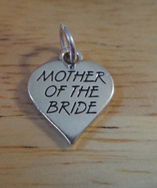 16x14mm Mother of the Bride on a Heart Sterling Silver Charm
