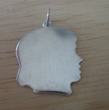 24x21mm Girl Engraveable Silhouette Sterling Silver Charm