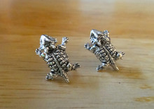 10x13mm Small Sterling Silver TCU Horned Toad Frog Stud Earrings