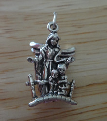 23x14mm 5g Guardian Angel with 2 Kids Sterling Silver Charm
