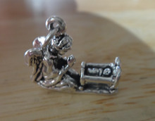 3D 21x18mm Guardian Angel w/ Baby in Crib Sterling Silver Charm